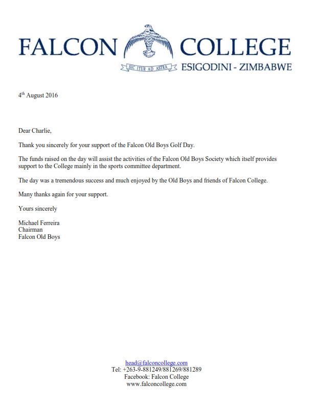 Thank You Letter  Falcon Old Boys Golf Day Sponsorship