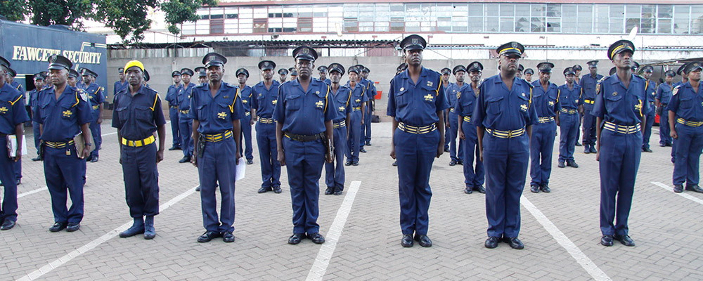 Service guards in formation.