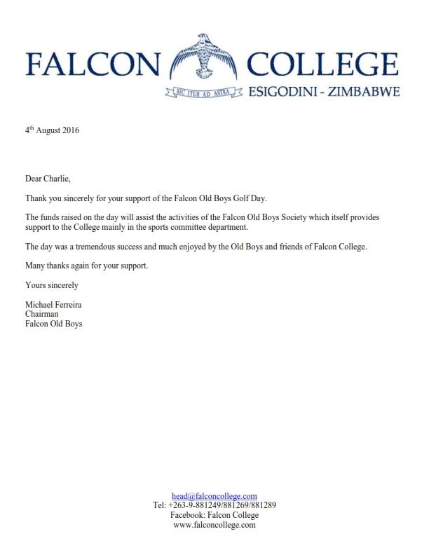 Sponsorship Thank You Letter | Thank You Letter Falcon Old Boys Golf Day Sponsorship
